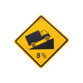 Steep grade hill traffic sign on white background — Stock Photo
