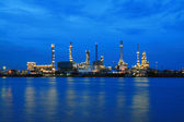 Oil Refinery plant area at twilight morning — Stock Photo