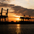 Industrial Port in sunset sunrise — Stock Photo