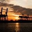 Industrial Port in sunset sunrise — Stockfoto