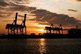 Industrial Port in sunset sunrise — Stock Photo