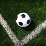 Soccer football field stadium grass line ball background texture — Stock Photo