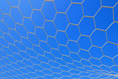 Closeup of white soccer net over blue sky — Stock Photo