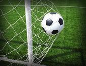 Pallone da calcio in gol — Foto Stock
