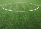 Soccer football field stadium grass line ball background texture — Stockfoto