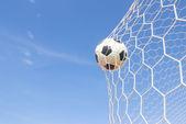 Soccer ball in net  — Stock Photo