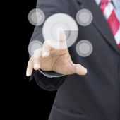 The hand presses the button — Stock Photo