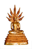 Thai style gold buddha statue isolated on white, Thailand — Stock Photo