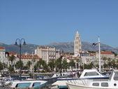 Split in croatia - riva and harbour — Stock Photo