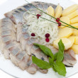 Stock Photo: Plate of herring