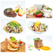 Series of meat and salads — Stock Photo