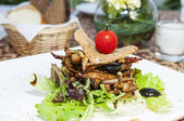 Salad with vegetables and chicken — Stock Photo
