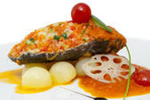 Baked fish fillets — Stock Photo