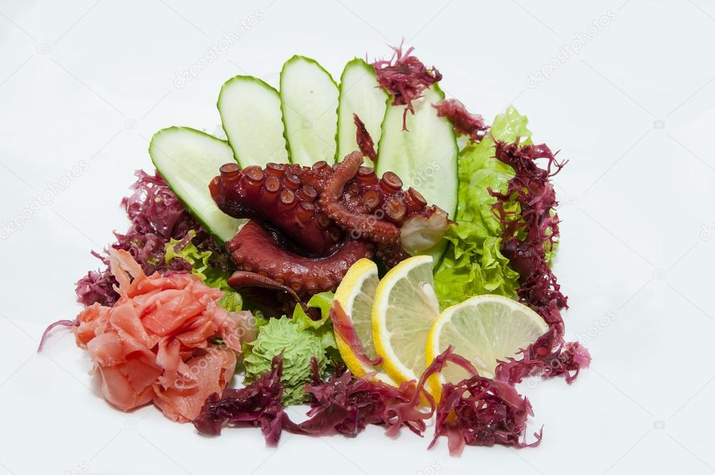 Japanese sashimi on a white background in a Japanese restaurant — Stock Photo #16306853