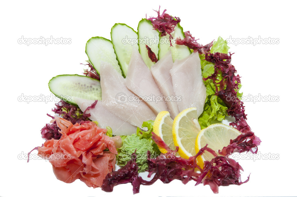 Japanese sashimi on a white background in a Japanese restaurant  Stock Photo #16310563