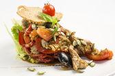 Salát se zeleninou a masem — Stock fotografie