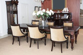 Dining table and chairs — Stock Photo