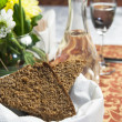 Vodkand black bread on table — Stock Photo #19153569