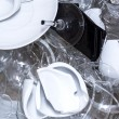 Broken wine glasses and plates — Stock Photo #19734619