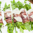 Meat rolls with meat and greens — Stock Photo