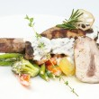 Rabbit meat and potatoes — Stock Photo