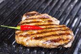 Cooking beef steak — Stock Photo