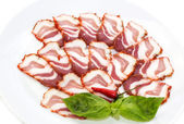 Bacon and pepper — Stock Photo