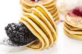 Delicious pancakes with berries — Stock Photo
