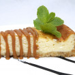 Piece of cheese cake decorated with mint — ストック写真 #22357823