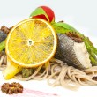 Baked fish with spaghetti — ストック写真 #22359407