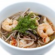 Stock Photo: Soup with shrimp and pasta