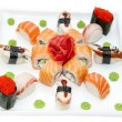 Japanese rolls with fish and vegetables - Foto Stock