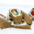 Japanese rolls with fish and vegetables - Стоковая фотография