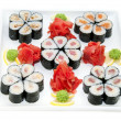 Japanese rolls with fish and vegetables - Stockfoto