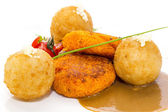 Carrot burgers and potato croquettes — Stock Photo