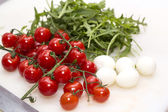 Tomatoes,eggs and fresh herbs — Stock Photo