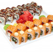 Stock Photo: Japanese rolls with fish and vegetables