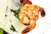 Salad greens and shrimp meat — Stock Photo