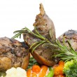 Royalty-Free Stock Photo: Roasted rabbit meat and potatoes with vegetables