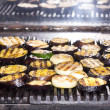 Cooking vegetables on the grill in the restaurant — Stock Photo