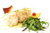 Baked fish with salad — Stockfoto