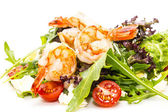 Shrimp salad greens and avocado cheese and tomatoes — Stock Photo
