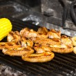 Cooking chicken wings on the grill — Stock Photo