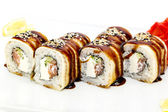 Delicious seafood sushi at a Japanese restaurant — Stock Photo