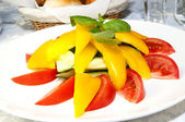 Tomatoes and peppers on a white plate — Stock Photo