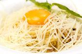 Spaghetti with egg — Stock Photo
