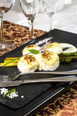Meatballs with asparagus — Stock Photo