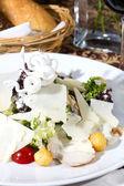 白い背景の上のチーズ、肉と野菜のサラダ — ストック写真