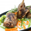 Stock Photo: Roasted rabbit meat and potatoes with vegetables