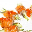 Rolls of salmon with cucumber and caviar — Stockfoto #29048659